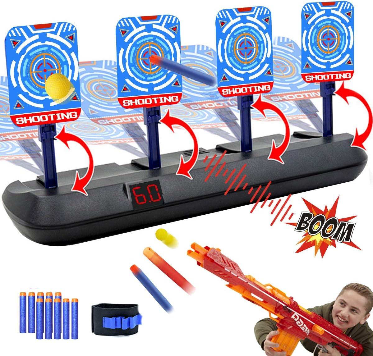 Target Fortnite Nerf Guns Amazon Com Electronic Shooting Target For Nerf Guns Auto Reset Digital Scoring Shooting Practice Targets Ideal Gifts Toys For Kids Teens Boys Girls 2021 Update Version 4 Targets Toys Games