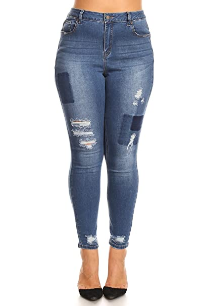 91a542c2e3 SALT TREE Women s EnJean Plus Size Patch Distressed Skinny Jeans   Amazon.ca  Clothing   Accessories