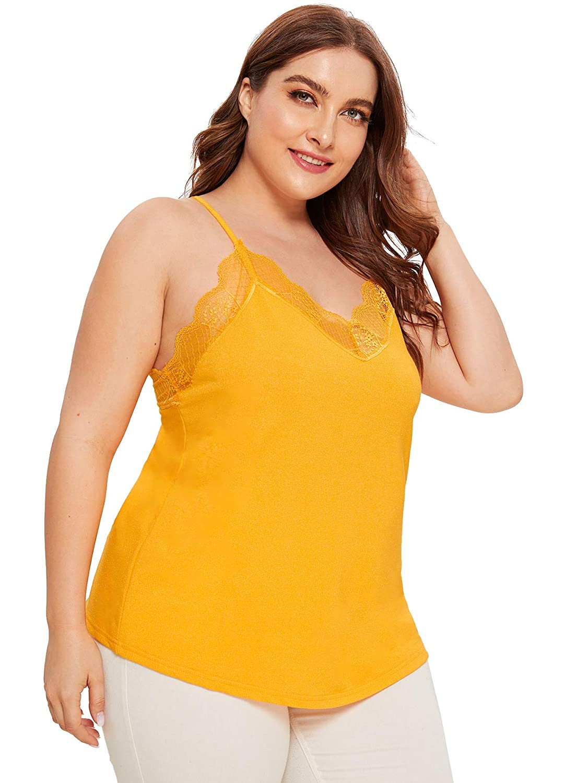 SheIn Womens V Neck Sleeveless Lace Trim Spaghetti Strap Camisole Cami Tank Top