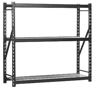 "Sandusky Lee Muscle Rack ERZ772472WL3 Black Heavy Duty Steel Welded Storage Rack, 3 Shelves, 1,000 lb. Capacity per Shelf, 72"" Height x 77"" Width x 24"" Depth, Pack of 1"