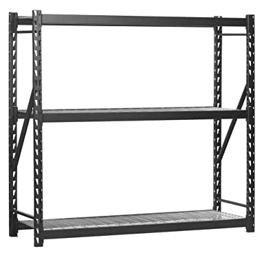 Muscle Rack ERZ772472WL3 Black Heavy Duty Steel Welded Storage Rack, 3 Shelves, 1,000 lb. capacity per shelf, 72  Height x 77  Width x 24  Depth