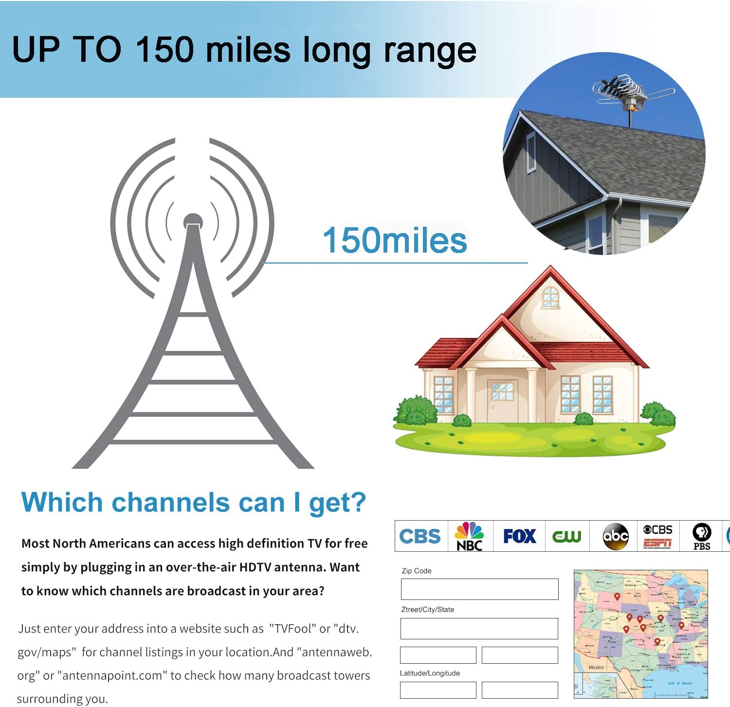 150 Mile Range-Motorized 360/° Rotation-32.8FT Coax Cable-UHF//VHF 4K 1080P Channels-Wireless Remote Control-Snap-On Installation Support 2 TVs Amplified Digital Outdoor Antenna,HD Digital HDTV Antenna
