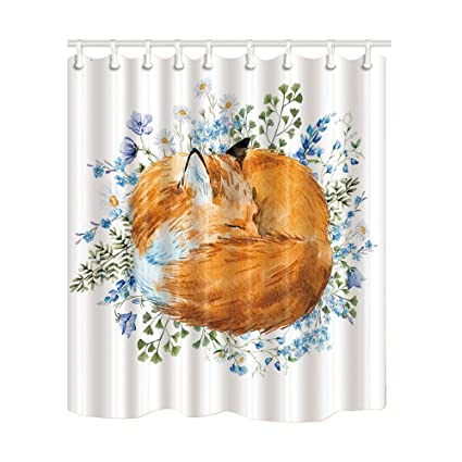 NYMB Watercolor Hand Drawn Sleeping Fox Shower Curtain Mildew Resistant Polyester Fabric Bathroom Decorations
