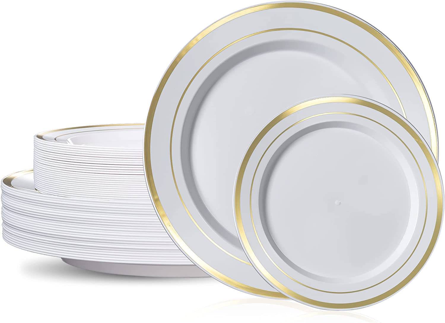 50 Piece Gold Plastic Plates - 25 Dinner Plates and 25 Salad Plates | Plastic Plates For Parties | Gold Plates | Party Plates | Wedding Plates | Disposable Plates For Party
