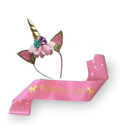 638ffafc96681 Unicorn Birthday Girl Sash & Unicorn Headband for Girls Gold Glitter Set -  Unicorn Birthday Girl party supplies, Favors & Decorations - 2018 Headband  ...