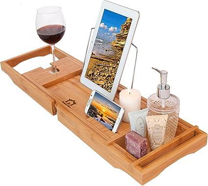 Amazon.com: Royal Casa Bamboo Bath Tub Caddy - Luxury Wooden Shower ...