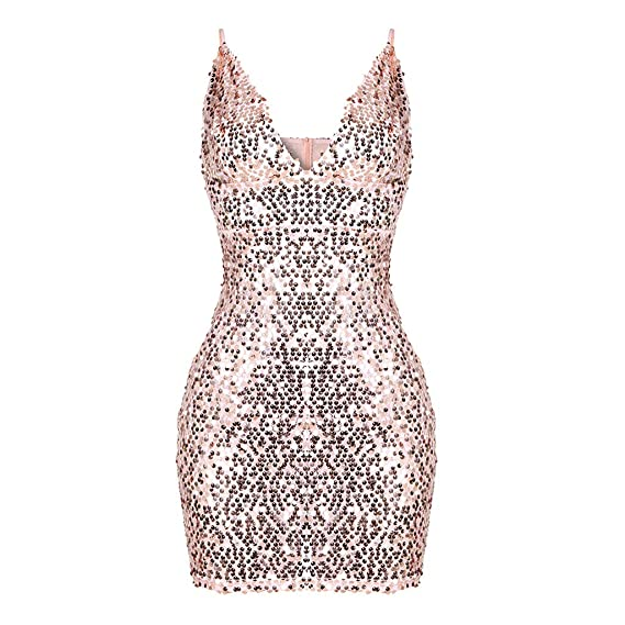 Amazon.com: Sexy Women V-Neck Sleeveless Sequins Spaghetti Strap Bodycon Clubbing Mini Dress Toponly: Arts, Crafts & Sewing