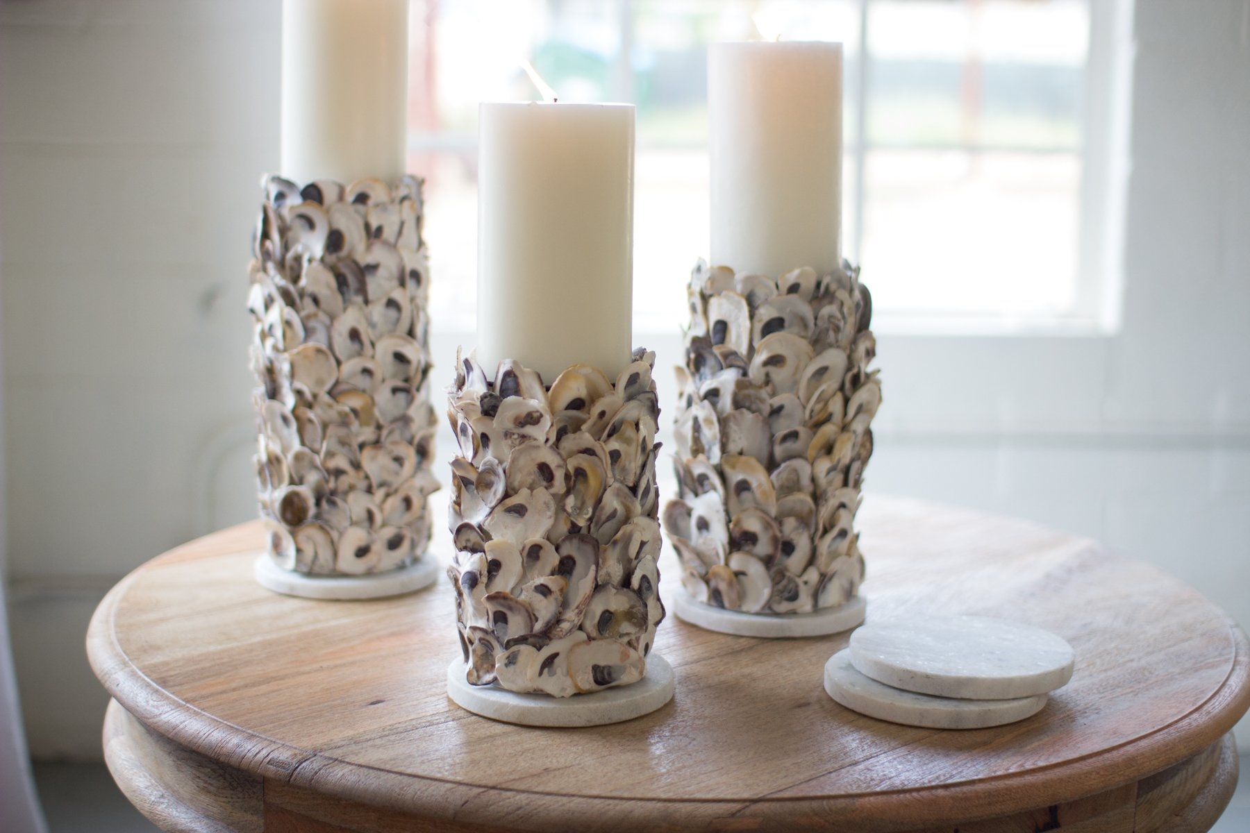 SET/3 OYSTER SHELL PILLAR CANDLE HOLDERS by Kalalou