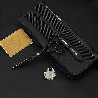 TC-GFR Peluquería tijeras de pelo 5.5 pulgadas de acero negro tijeras de peluquería corte plano tijeras tijeras de pelo traje