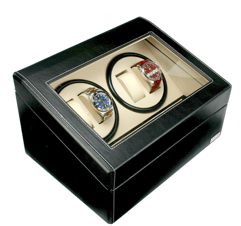 AXIS® Schwarz Leder 4 Uhrenbeweger mit 6 Uhren Aufbewahrung