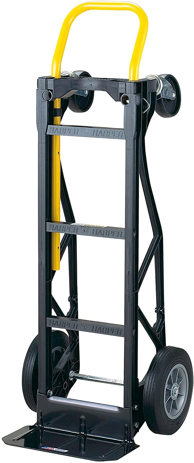 "Harper Trucks 700 lb Capacity Glass Filled Nylon Convertible Hand Truck and Dolly with 10"" Flat-Free Solid RubberWheels"