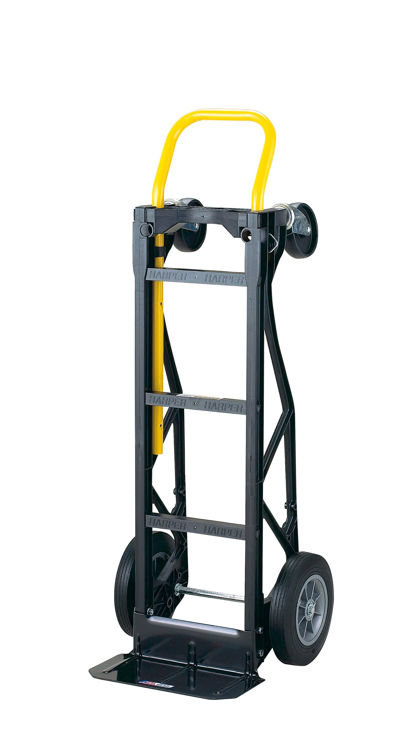 Harper Trucks 700 lb Capacity Glass Filled Nylon Convertible Hand Truck and Dolly with 10'' Flat-Free Solid Rubber  Wheels