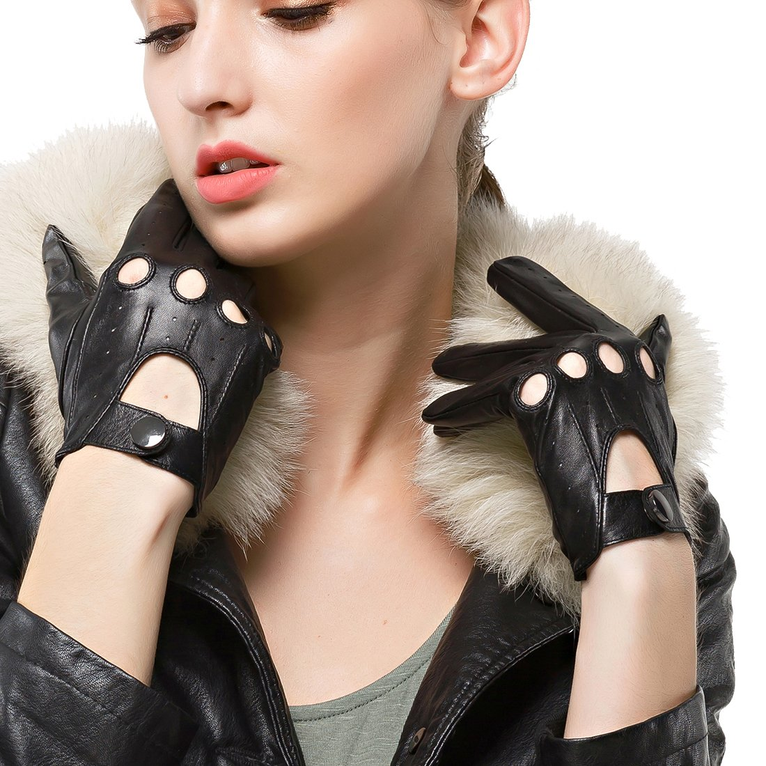 Nappaglo Women's Driving Leather Gloves Classic Lambskin Full-finger Motorcycle Open Back Unlined Gloves (Touchscreen or Non-Touchscreen) DBD068