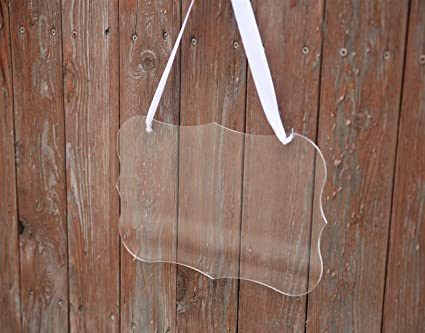 UNIQOOO Custom DIY Clear Blank Acrylic Hanging Sign | Elegant Wedding Chair  Signs w/White Satin Ribbon for Bride & Groom | Perfect for Calligraphy