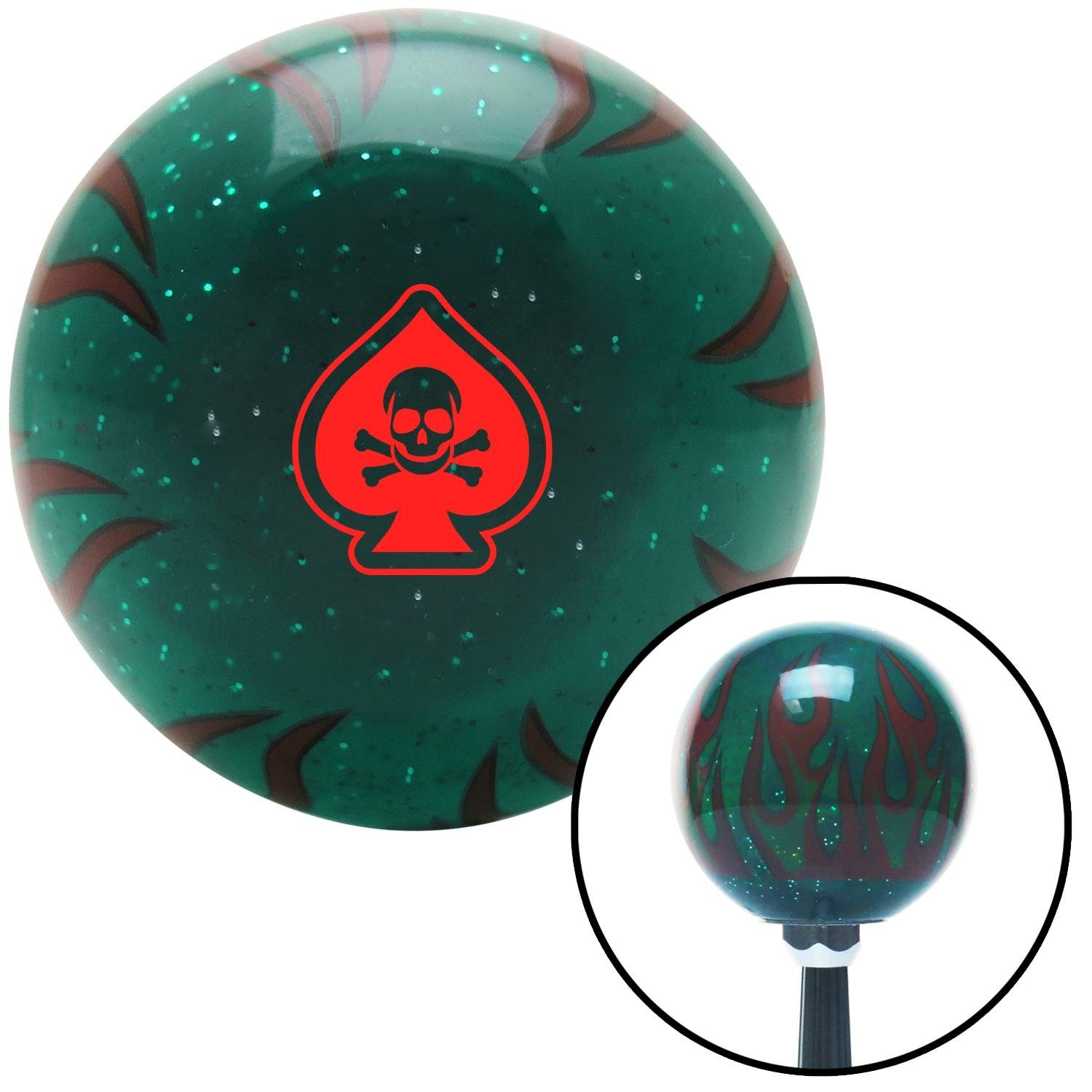 Red Spade Skull Green Flame Metal Flake with M16 x 1.5 Insert American Shifter 300826 Shift Knob