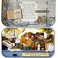 Box Theater Dollhouse, Mini Cabin Handicraft DIY Assemble Box House Kits Art Gifts Creative Room with String Light Tweezer Ruler for Kids Friends Birthday Valentine's Day (Winter Roam Around)