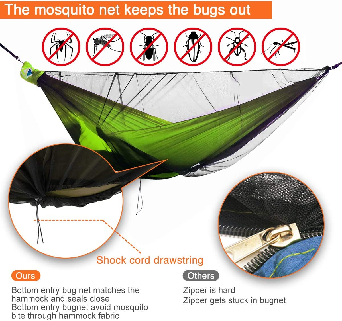 onewind XL Double/&Single Camping Hammock Bundle Includes Tree Straps Double Ended Stuff Sack Mosquito Net Ridgeline