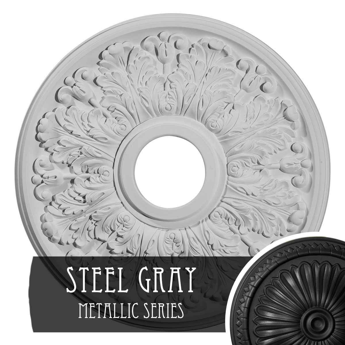 Ekena Millwork CM16APSGS 16 1/2'' Od X 3 Id X 1 1/8'' P Apollo (fits Canopies up to 5 5/8''), Hand-Painted Ceiling Medallion, Steel Gray