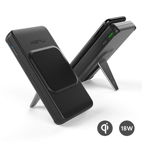 Kenu BingeBank 10000 mAh Power Bank + Qi Wireless Charger + Phone Stand  Mount   USB-C 18W PD   USB Quick Charge 3 0