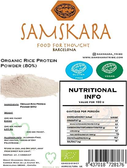 Proteina de Arroz (80%) en Polvo   Ecológico Bio   de agricultura Europea calidad   SAMSKARA   EU Agriculture Organic Bio Rice Protein Powder (80%) ...
