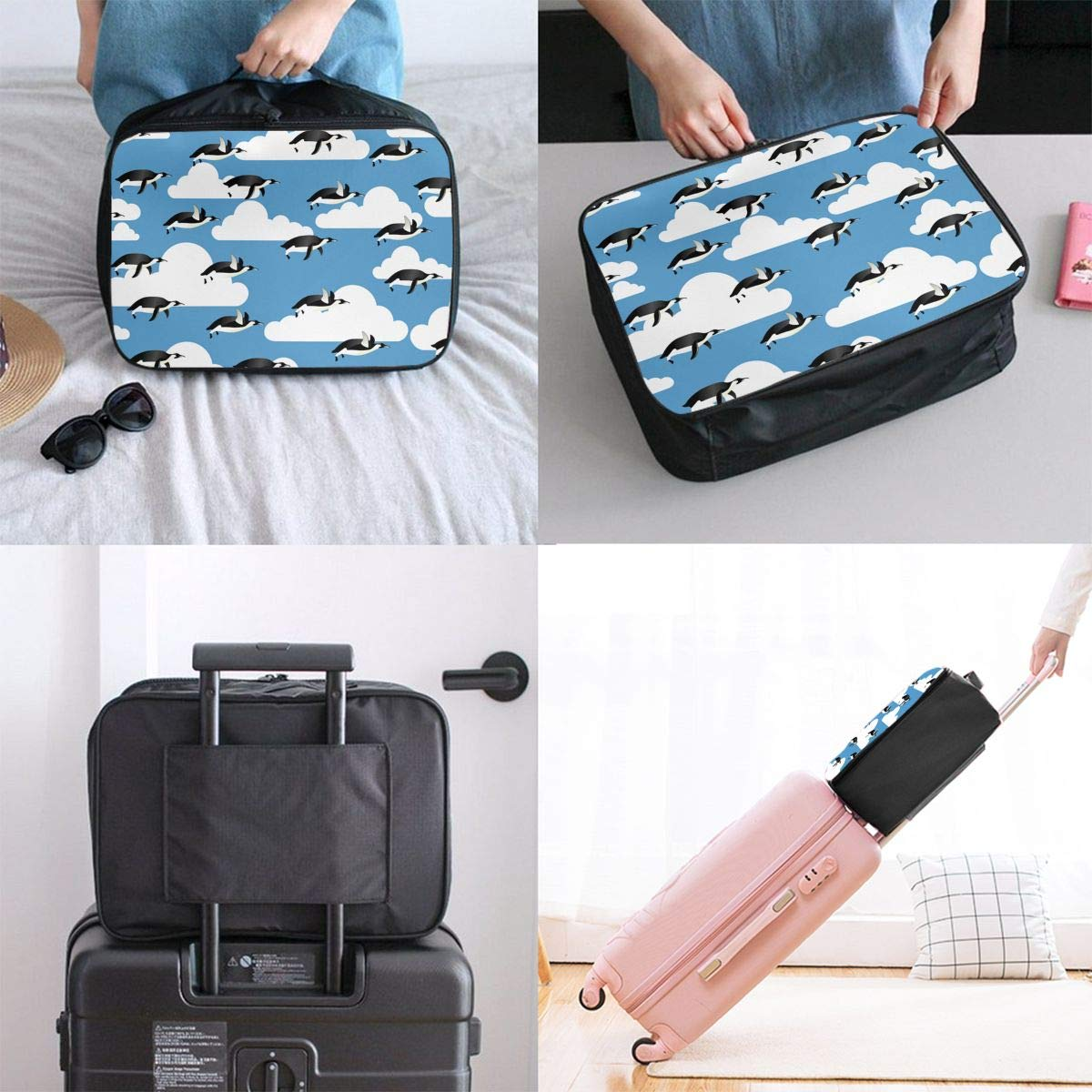 Flying Penguins Travel Bag Lightweight Luggage Bags Duffle Bag Large Capacity Travel Organizer Bag