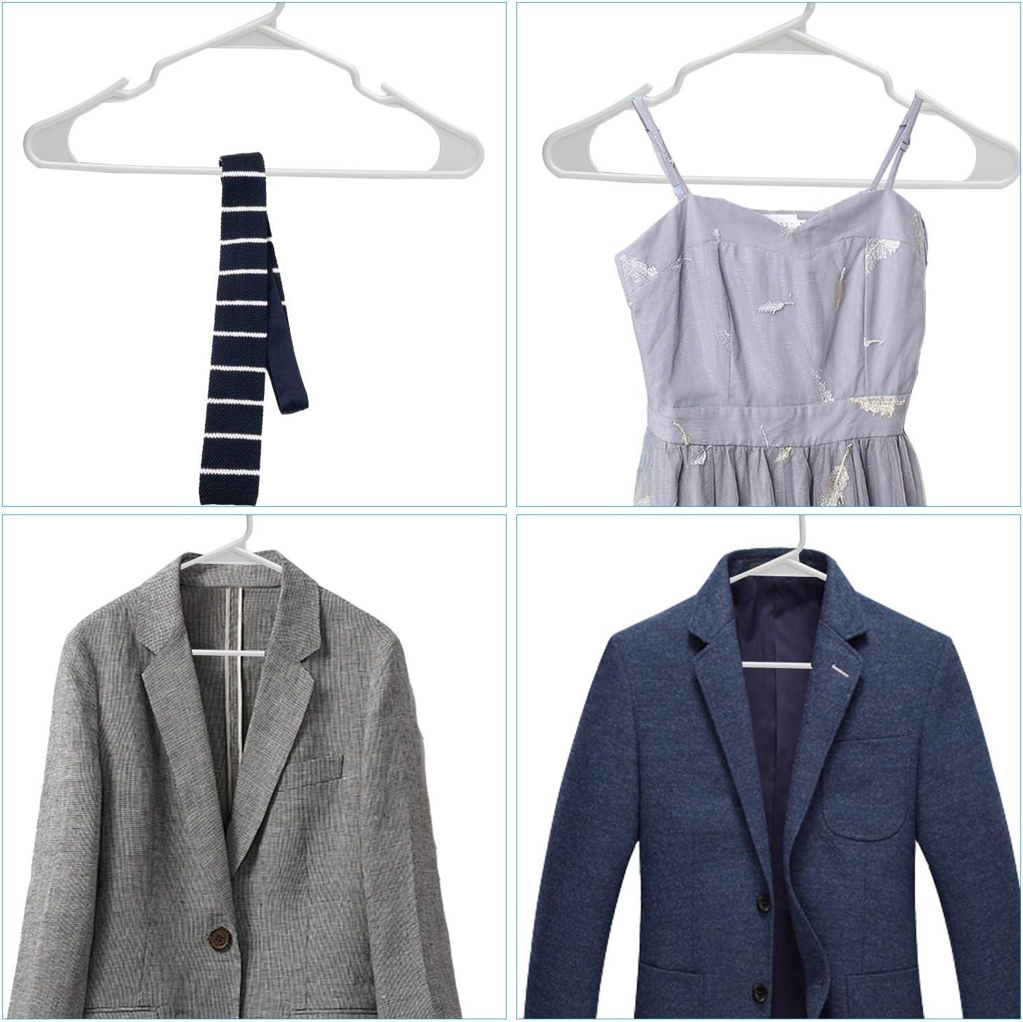 Blanco 60 Paquete Perchas de pl/ástico est/ándar Perchas duraderas y Delgadas para Adultos 42 cm Clothink