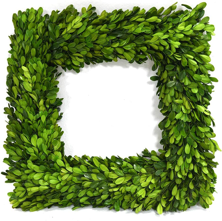 "Nature Original Boxwood Wreath Square Shape Well Preserved Boxwood Wreath Home Decoration for Indoors, Window, Wedding Summer Farmhouse Style Decor(Square Wreath, 14"")"