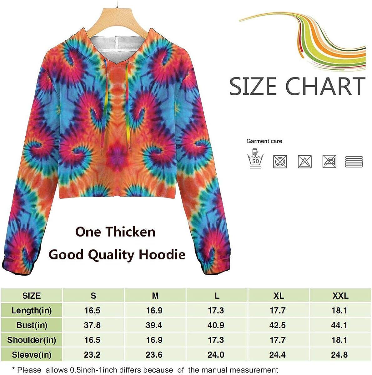 VANMASS Girls Sweater Tie Dye Decor Cropped Hoodies Pullover Sweatshirts Gifts