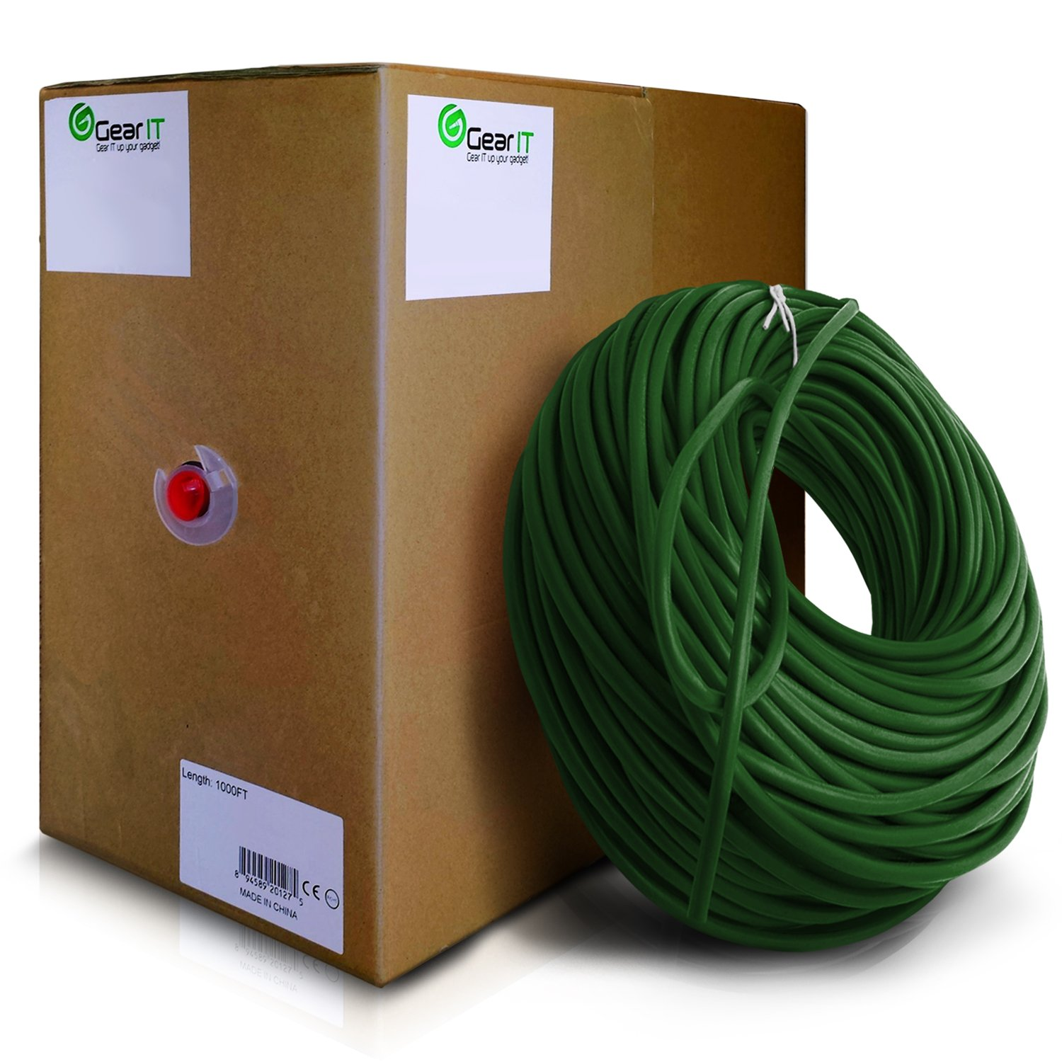 GearIt 1000 Feet Bulk Cat6 Ethernet Cable - Cat 6e 550Mhz 24AWG Full Copper Wire UTP Pull Box, Green by GearIT