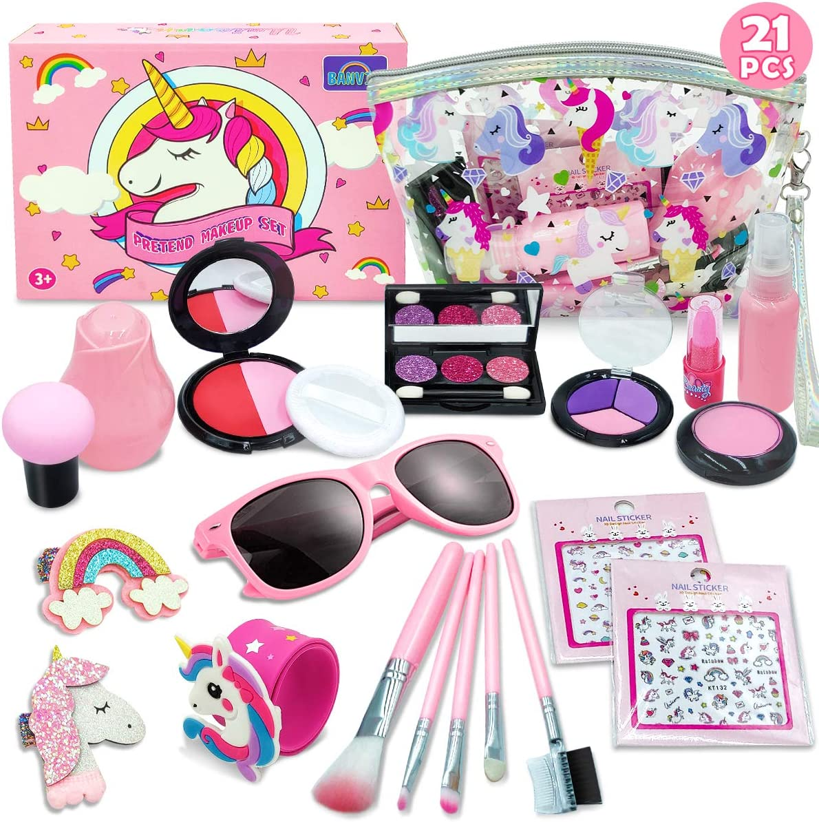 Banvih - Play Makeup for Girls - 21 Piece Pretend Makeup for Girls - My First Purse Kid Makeup Kit for Girls and Toddlers with Unicorn Cosmetic Bag