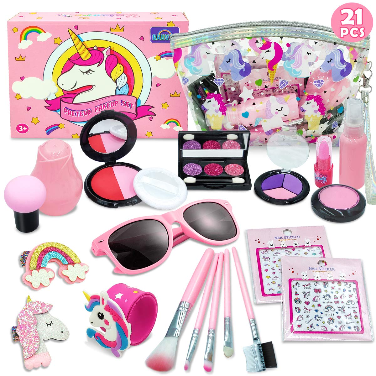 Banvih - Play Makeup for Girls - 21 Piece Pretend Makeup for Girls - My First Purse Kid Makeup Kit for Girls and Toddlers with Unicorn Cosmetic Bag by Banvih