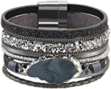 AZORA Leather Cuff Bracelet Multi Rope Wrap
