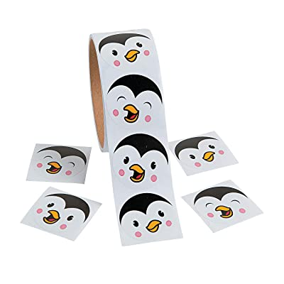 Fun Express - Penguin Face Roll Stickers for Winter - Stationery - Stickers - Stickers - Roll - Winter - 1 Piece: Toys & Games