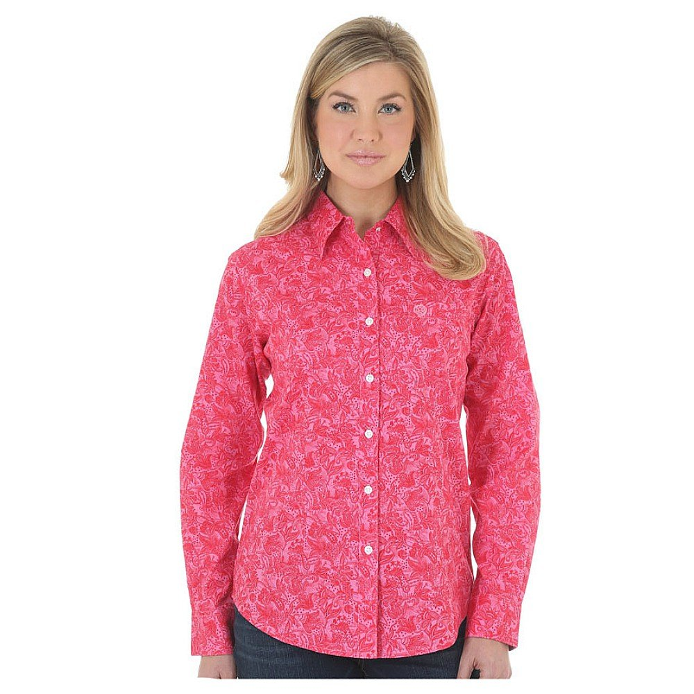 75899822 Wrangler George Strait for Her Button Down Pink Floral Print Top at Amazon Women's  Clothing store: