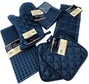 Kitchen Towel Set with 2 Quilted Pot Holders, Oven Mitt, Dish Towel, Dish Drying Mat, 2 Microfiber Scrubbing Dishcloths (Blue)