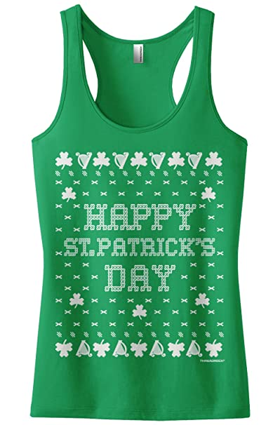 ee30f547 Threadrock Women's St. Patrick's Day Ugly Sweater Racerback Tank Top S  Kelly Green