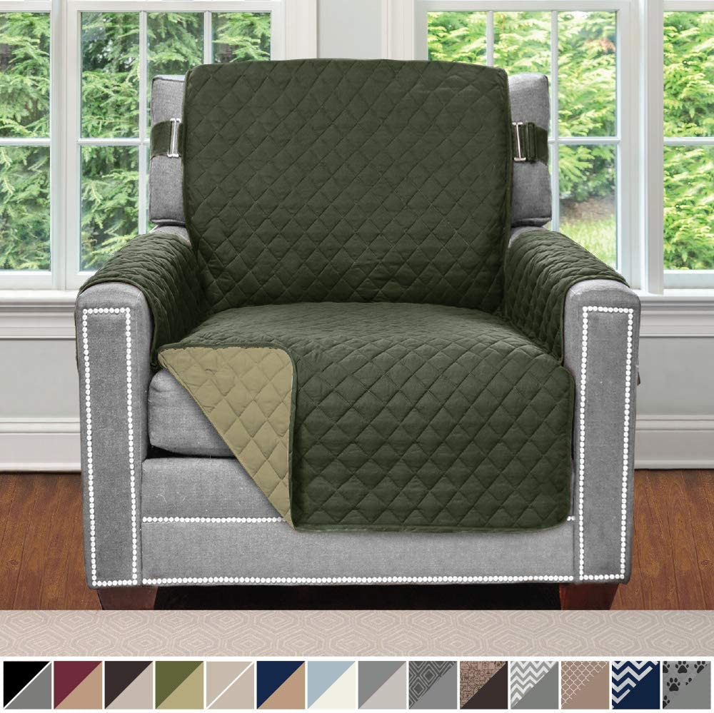 Sofa Shield Original Patent Pending Reversible Chair Slipcover, 2 Inch Strap Hook, Seat Width Up to 23 Inch Machine Washable Furniture Protector, Slip Cover Throw for Pets, Chair, Hunter Green Sage