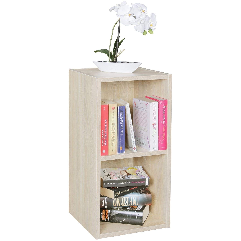 Standregal Lara Sonoma für Bücher 2 Fächer MDF-Holz Design Aufbewahrungsregal Modernes Flur-Holzregal Kleines Regal offen HxB:60x30cm Sonoma