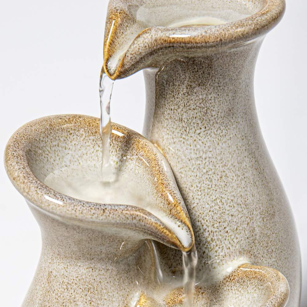 Ambient/é Baeza Grey Ceramic Tabletop Cascading Jar Water Feature 21.5cm