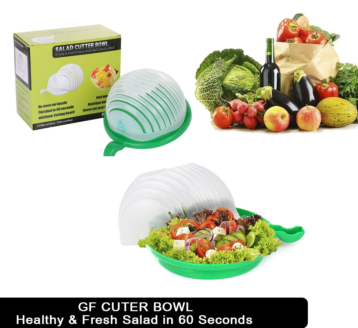 Amazon.com: Improved Premium 60 second Salad Cutter Bowl by ...