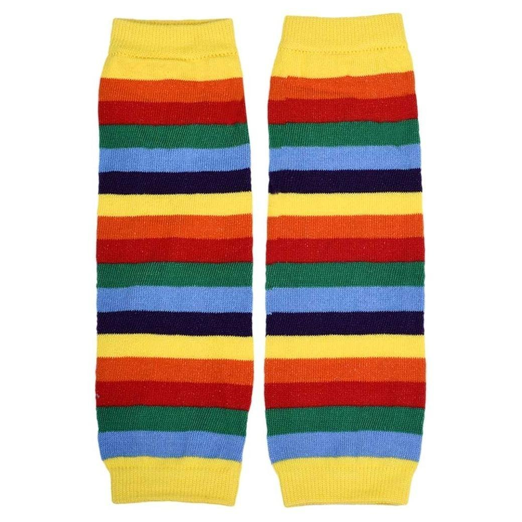 Stripes Rainbow Kneepad Socks Leg Warmer Cotton Leggings for Kids Girls - Yellow