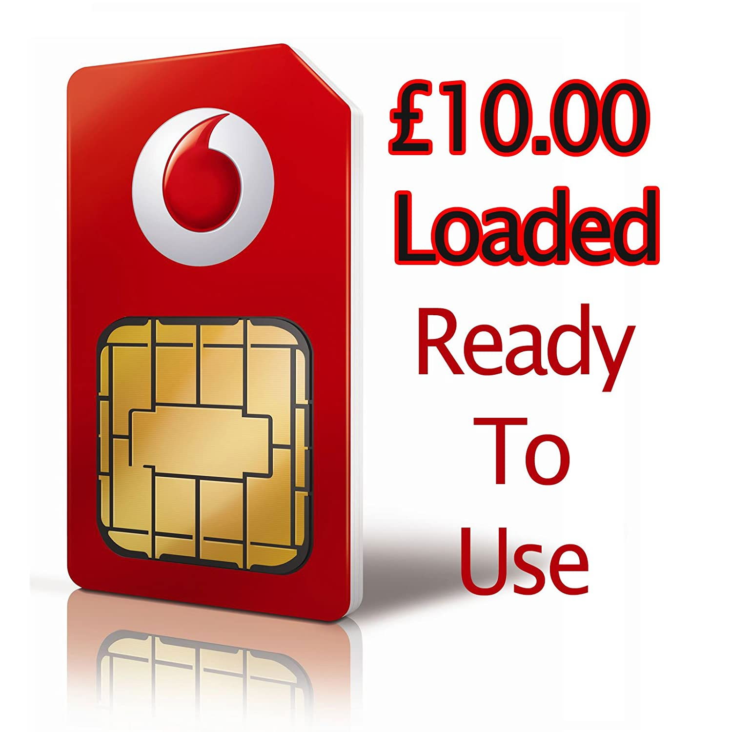 UK Vodafone Prepaid Sim Card w/ GBP £10 00 Loaded **Shipping From USA