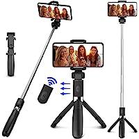 LETTURE Selfie Trípode Bluetooth, 360°Rotación Extensible Selfie Stick Inalámbrico Palo Selfie Trípode para Móvil Deportivo de Control Remoto y Monopod Trípode Plegable para iPhone/Samsung Galaxy/Huawei/HTC/Xiaomi y Otros Celular Inteligentes