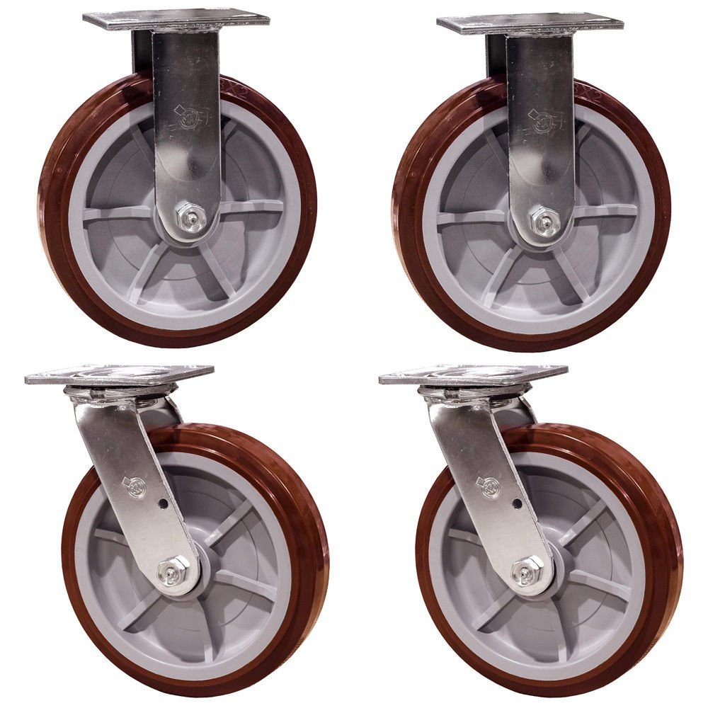 8'' Heavy Duty Casters Polyurethane Wheel - Swivel and Rigid Non Marking Service Caster Brand Set of 4