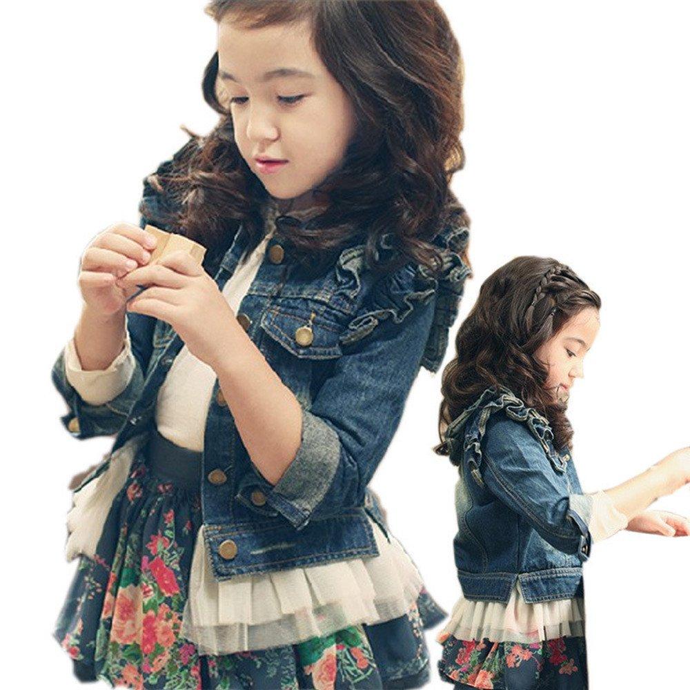 Big Girls Denim Jean Jacket Lace Outwear (12, Dark Blue)