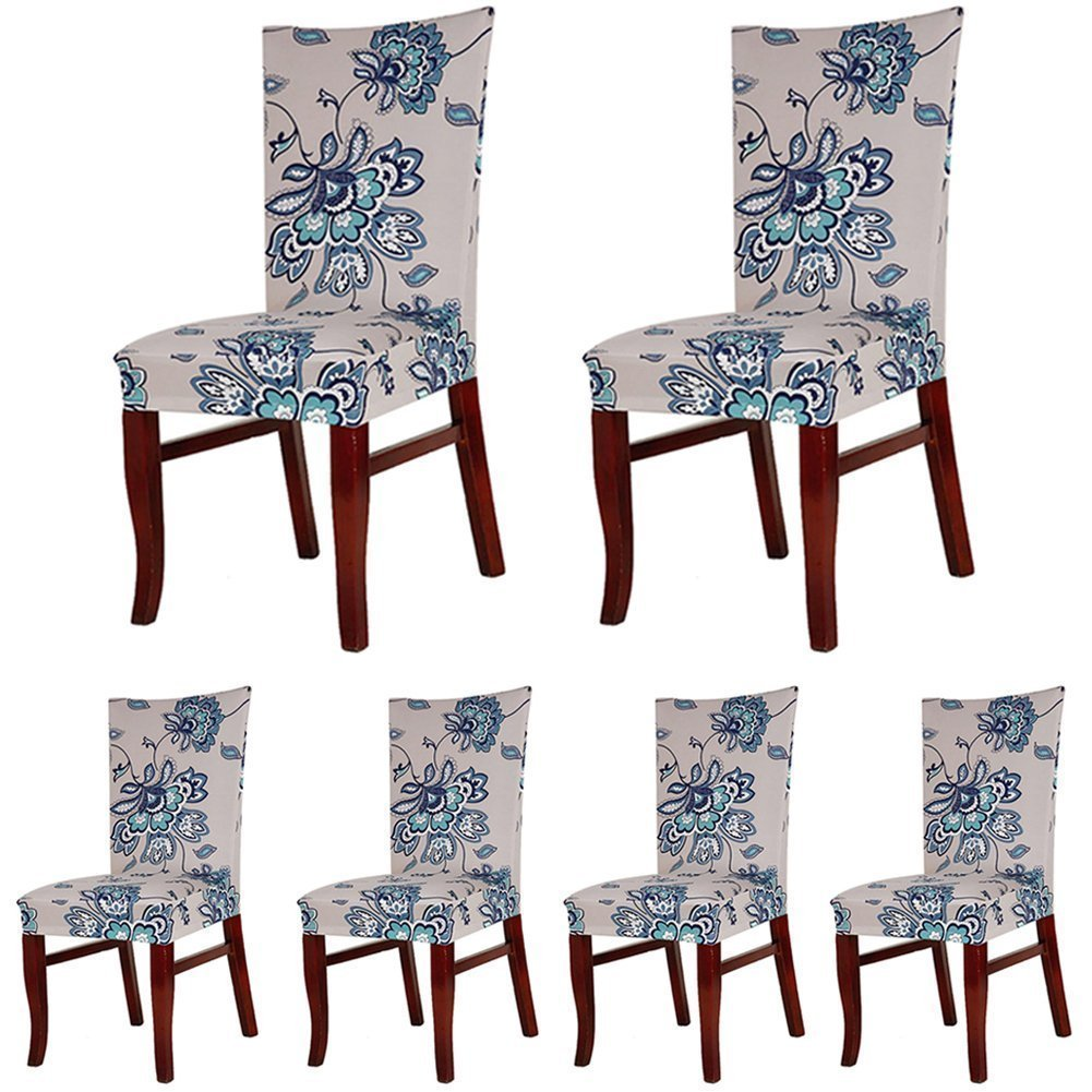Vpawn Stretch Removable Washable Short Dining Chair Protector Cover Slipcover, 6 Pack (19)