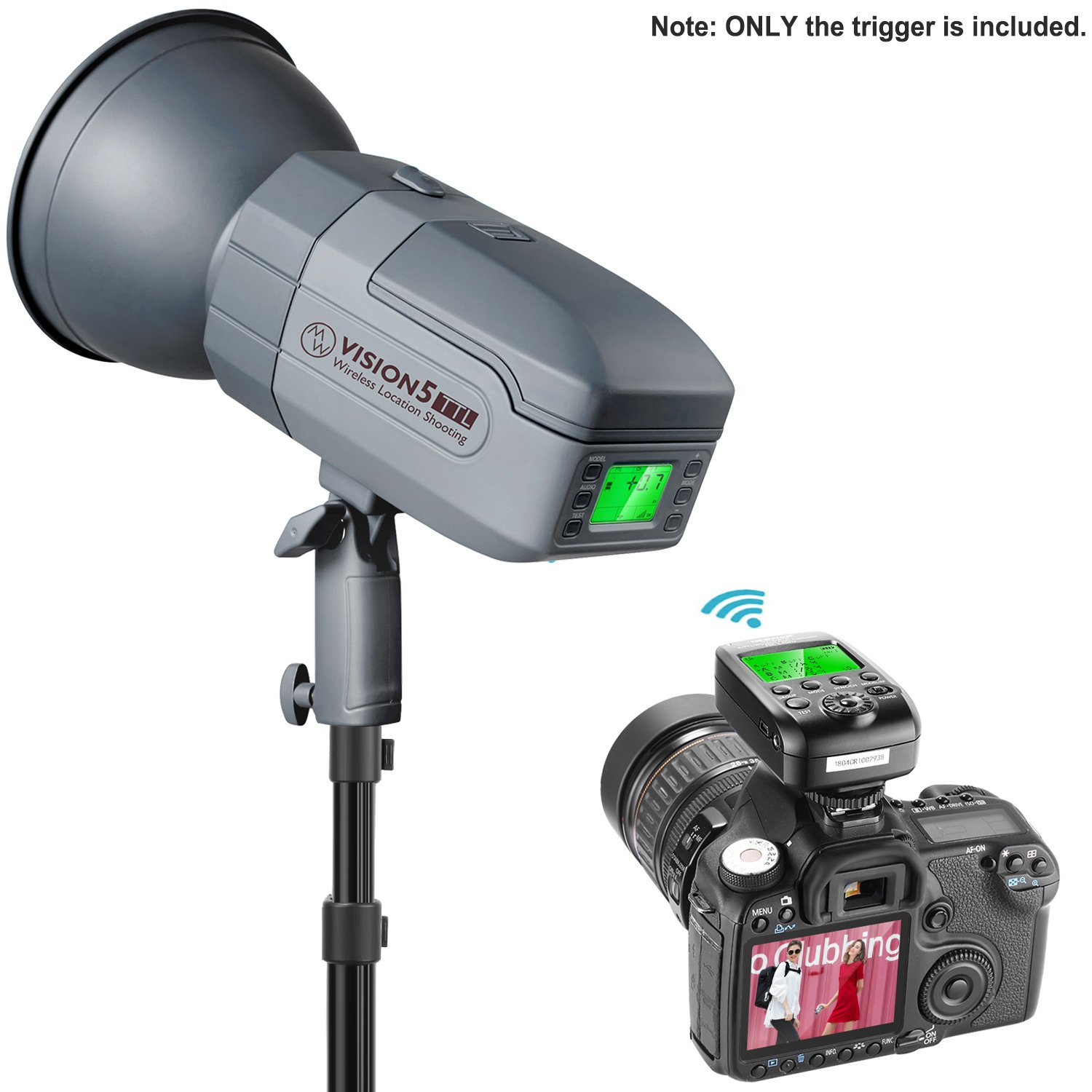 Neewer VC-818TX 2.4G Wireless Flash Trigger Transmitter Compatible with Nikon Camera and Vision 5 Outdoor Studio Flash Strobe Monolight