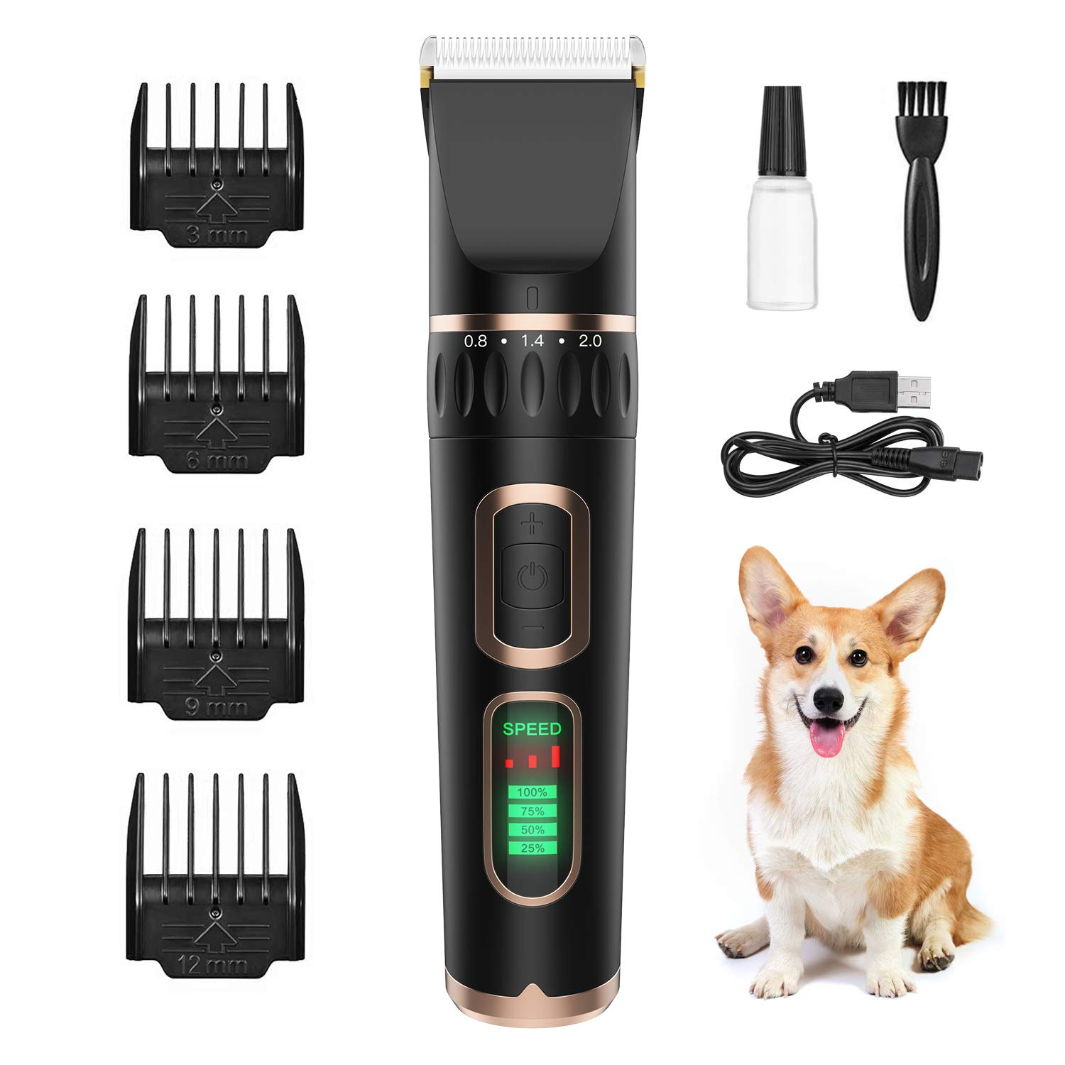 ZIIDII Dog Clippers,3 Speed Rechargeable Pet Grooming Kit with LED Display,Waterproof Blade Low Noise Hair Trimmer Clipper for Dogs Cats and Other Pets by ZIIDII