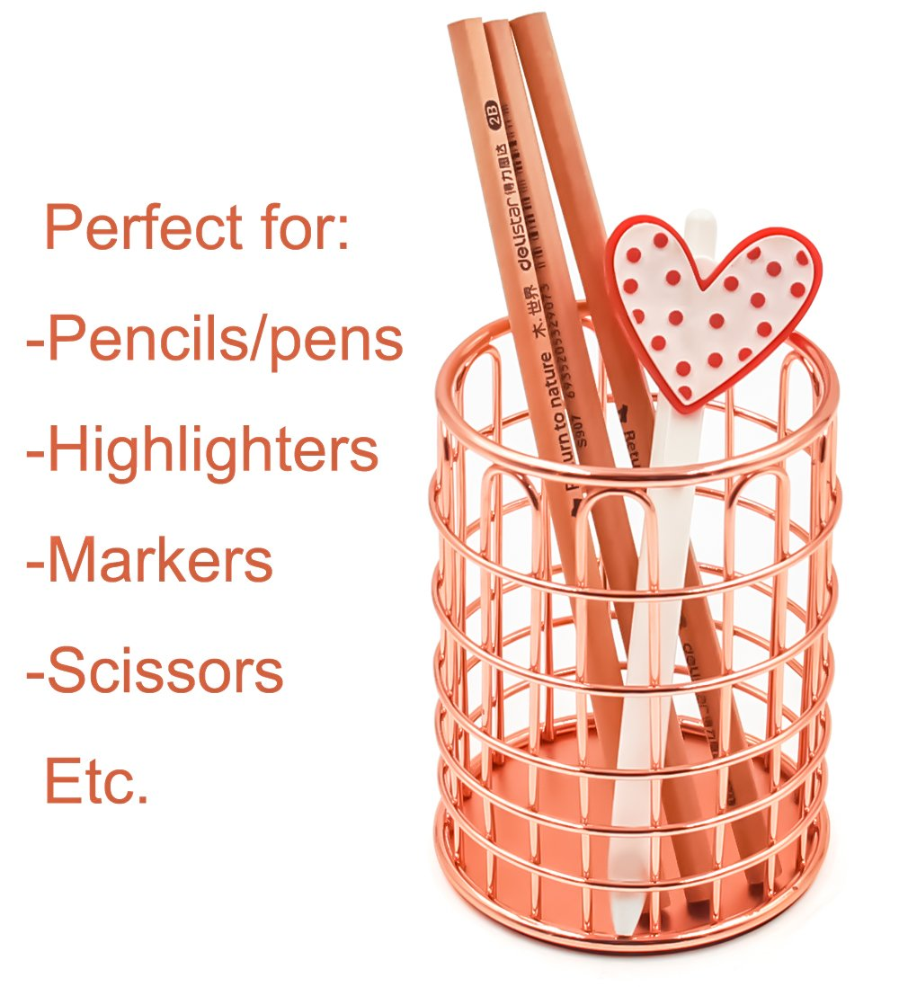 Superbpag Wire Metal Desktop Pencil Holder, Set of 2, Rose Gold by Superbpag (Image #6)