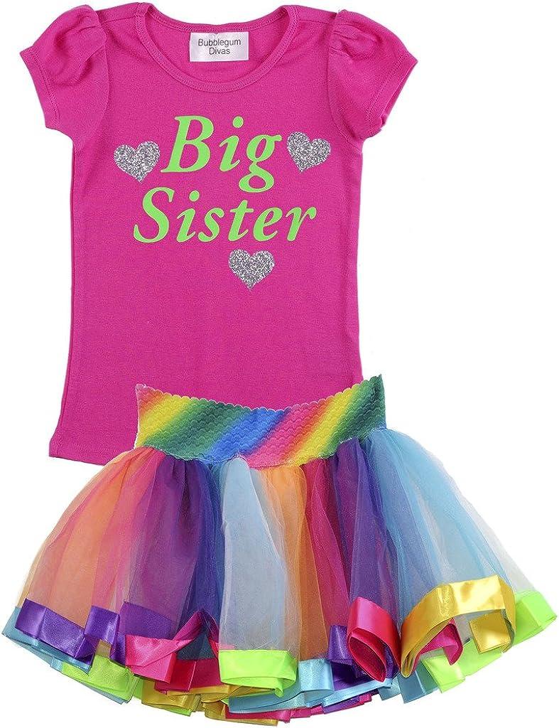 Bubblegum Divas Little Girls Big Sister Shirt Rainbow Tutu Outfit